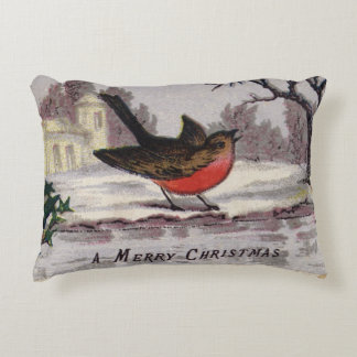 Circa 1865: A traditional Christmas robin Accent Pillow
