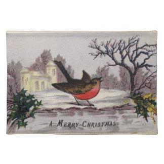 Circa 1865: A traditional Christmas robin Place Mats