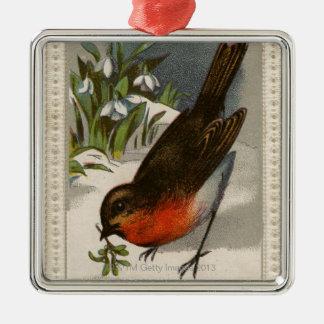 Circa 1871: A robin, with mistletoe in its beak Silver-Colored Square Ornament