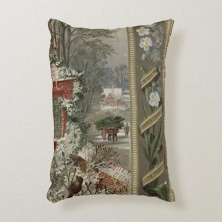 Circa 1871: A wintry Christmas scene Decorative Pillow