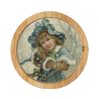 Circa 1871: A young girl in the snow Rectangular Cheeseboard