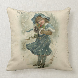 Circa 1871: A young girl in the snow Throw Pillow