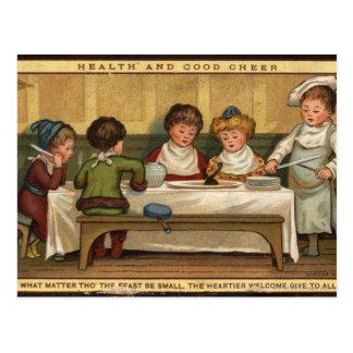 Circa 1880: A meal at Christmas Postcard