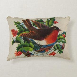 Circa 1900: A traditional Christmas robin Accent Pillow