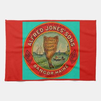 circa 1900 Alfred Jones Sons Finnan Haddie label Kitchen Towel