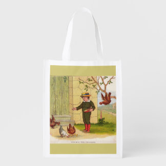 circa 1900 Feeding the Chickens Reusable Grocery Bag