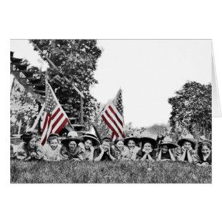 Circa 1910 Charming Women Lineup Patriotic Flag Card