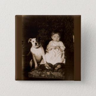 circa 1910 pitbull and baby RPPC 2 Inch Square Button