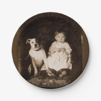 circa 1910 pitbull and baby RPPC 7 Inch Paper Plate