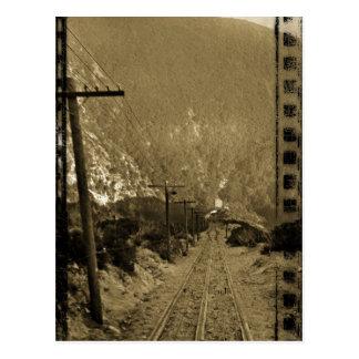 Circa 1910 Sepia Railroad Tracks West Photo Train Postcard
