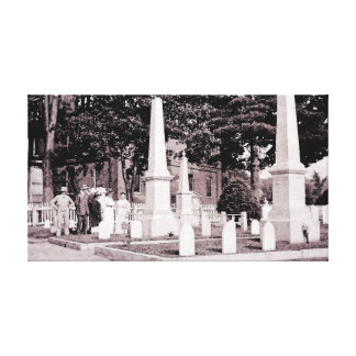 circa 1918 Sepia Cemetery  Watercolor from Photo Canvas Print