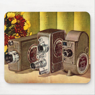 circa 1950 home movie cameras ad mouse pad