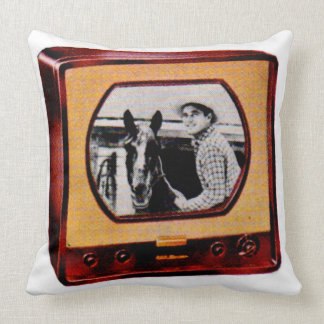 circa 1951 portable television set cowboy show throw pillow