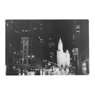 circa 1954:  A view down Michigan Avenue Laminated Placemat