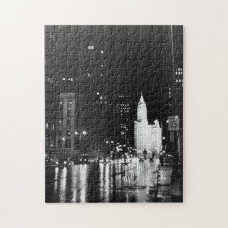 circa 1954:  A view down Michigan Avenue Puzzles