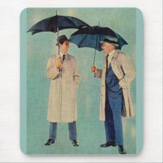 circa 1960 umbrella men mouse pad