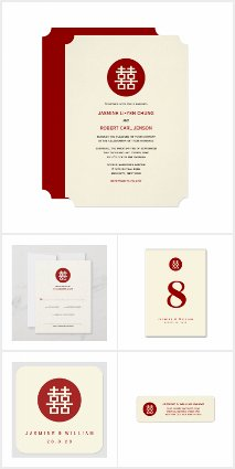 CIRCLE 1 DOUBLE HAPPINESS IVORY CHINESE WEDDING