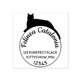 Circle Black Cat Return Address Stamp Custom Round