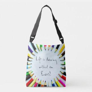 Circle colorful pencils / crayons + your ideas crossbody bag