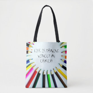 Circle colorful pencils / crayons + your ideas tote bag