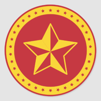 Circle Communist Red Star Sticker