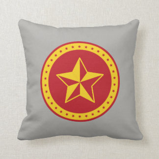 Circle Communist Red Star Throw Pillow