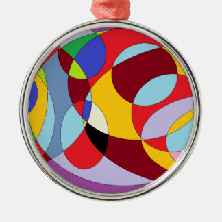 Circle design with various colours. Silver-Colored round ornament