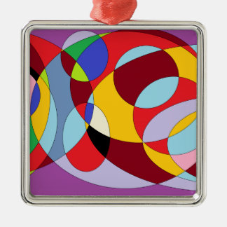 Circle design with various colours. Silver-Colored square ornament