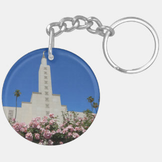 Circle (double-sided) Keychain LA Temple roses