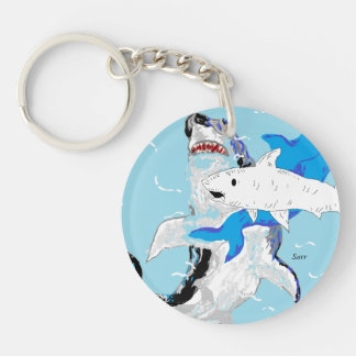 Circle (double-sided) Keychain Sharks