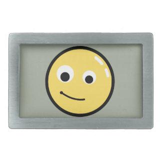 Circle Face Smile Rectangular Belt Buckle
