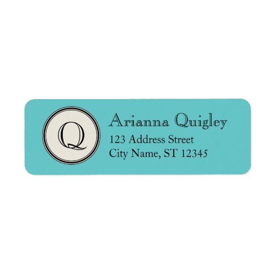 Circle Frame Monogram Return Address, Aqua