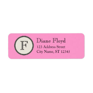 Circle Frame Monogram Return Address, Pink Return Address Label