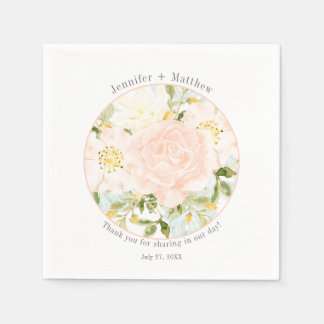 Circle Frame Pale Peach Roses Greenery Reception Paper Napkin