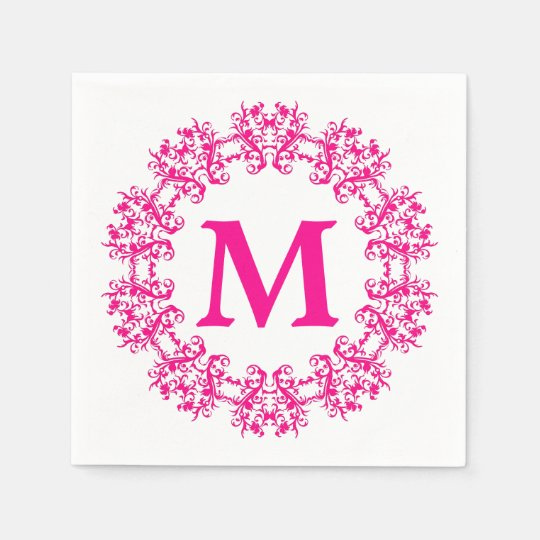 Circle Framed Monogram Paper Napkins