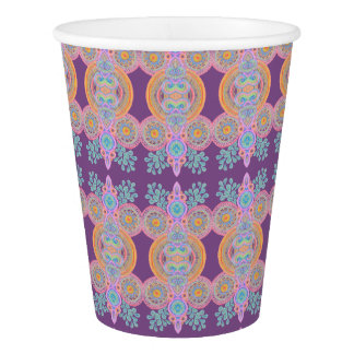 circle leaf pattern paper cup