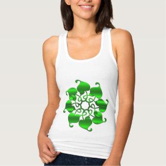 circle leaves green mandala tank top