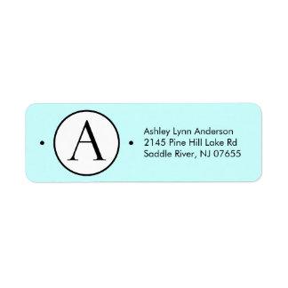 Circle Letter A Monogram Return Address Labels. Return Address Label