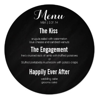"Circle menu - story of our love 5.25"" square invitation card"