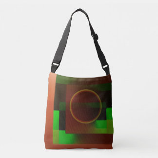 Circle n Squares in Green and Brown Crossbody Bag