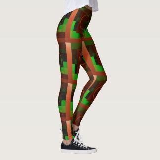 Circle n Squares in Green and Brown Leggings
