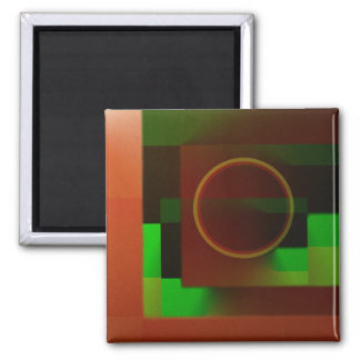Circle n Squares in Green and Brown Magnet