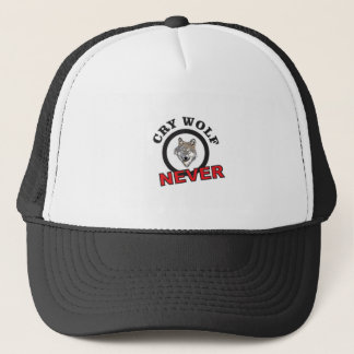 circle never cry wolf trucker hat