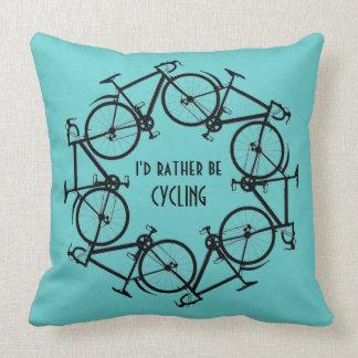 Circle of Bikes Cycling Design Throw Pillow