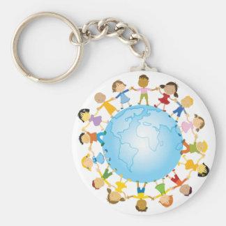Circle of Children Around the World Basic Round Button Keychain
