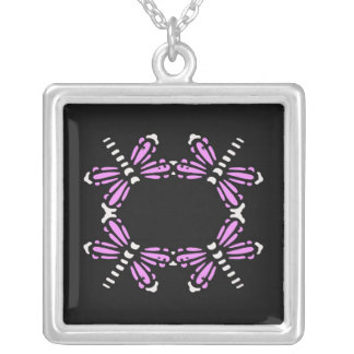 Circle of dragonflies in pink and black necklace