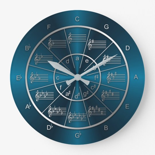 Circle of Fifths Blue Light Beams Large Clock
