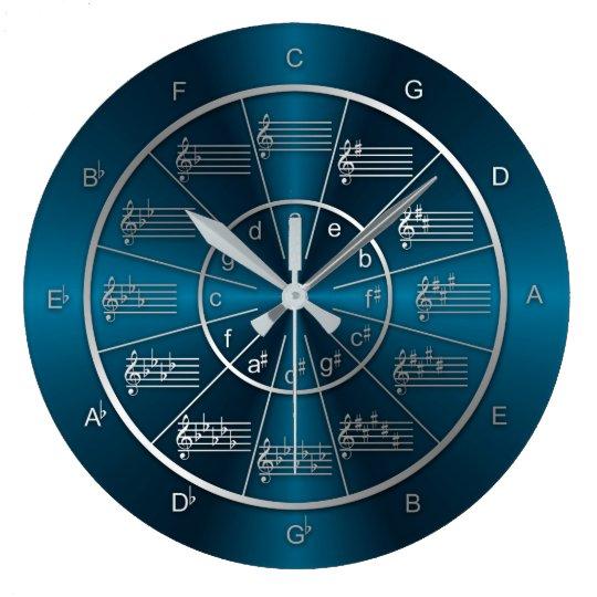 Circle of Fifths Blue Light Beams Wall Clocks