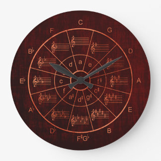 Circle of fifths brown / red color musicians large clock