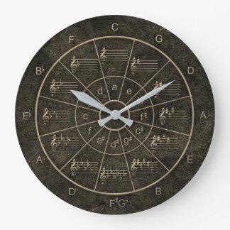 Circle of fifths elegant blac design for musicians large clock